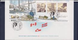 Canada FDC 2004 Norwegian Explorer Otto Sverdrup Souvenir Sheet- Jojnt Issue With Norway And Greenland - Omslagen Van De Eerste Dagen (FDC)