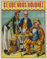ETIQUETTE ANCIENNE CHROMOGRAPHIE PUBLICITE HUMOUR ALCOOLS VERRE A ABSINTHE - Unclassified