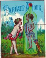 ETIQUETTE ANCIENNE CHROMOGRAPHIE PARFAIT AMOUR ANGELOTS  PUBLICITE HUMOUR ALCOOLS LIQUEURS - Labels