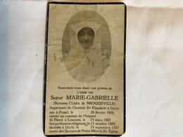Soeuarie-Gabrielle Baronne Clara De Brocqueville Superieur Indtitut Dt Elisabeth Uccle *1866 Postel +1927 Ukkel Louvain - Obituary Notices