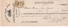 DDX777 -- ANGRE - Reçu TP Grosse Barbe DOUR 1908 - Fabrique De Chicorée Grasse Launois-Wallon , Illustration Locomotive - 1905 Grove Baard