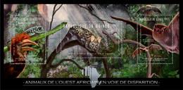 Guinea 2012 - Endangered Animals Of West Africa, Animals, Reptiles, Birds. Y&T 6277-6279, Mi 9170-9172 - Guinea (1958-...)
