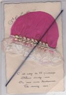 Sainte Catherine . Carte Avec Ajouts Bonnet En Tissu Rouge ,dentelle Et Cordon . C'est Assez De 25 Printemps.... - St. Catherine