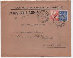 Timbre 50c COQ D'ALGER + IRIS 1944 Lettre , Recommandé De Fortune (griffe) Bureau ANNEXE 1 Du Central PARIS XVIII SUP! - Storia Postale