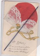 Sainte Catherine . Carte Avec Ajouts Bonnet En Tissu Orange ,dentelle Et Ruban . Il Est Grand Temps De Réfléchir.... - St. Catherine