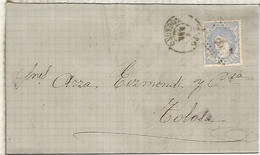 GOBIERNO PROVISIONAL  ENVUELTA  ESCRITA DE HARO LA RIOJA A TOLOSA GUIPUZCOA 1872 - Cartas