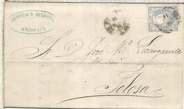 GOBIERNO PROVISIONAL  ENVUELTA  DE ANDOAIN A TOLOSA GUIPUZCOA 1871 - Cartas