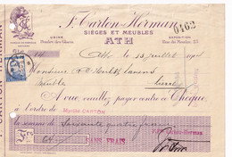 DDX780 -- ATH - Chèque TP Pellens ATH B En 1914 - Meubles Et Sièges Carton-Herman - Illustration Lion - 1912 Pellens