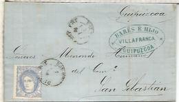 GOBIERNO PROVISIONAL  ENVUELTA  ESCRITA DE VILLAFRANCA GUIPUZCOA A SAN SEBASTIAN 1870 - Cartas