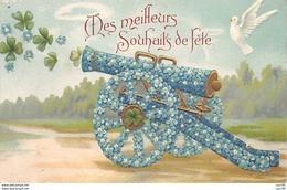Fantaisie - N°64014 - Mes Meilleurs Souhaits De Fête - Canon En Fleurs Et Colombe - Carte Gaufrée - Other