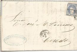 GOBIERNO PROVISIONAL  ENVUELTA ESCRITA  DE AVILES  ASTURIAS A GIJON 1872 - Cartas