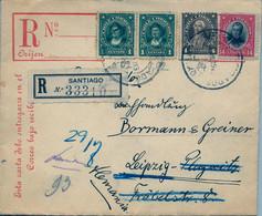 1939 , CHILE , SANTIAGO - LEIPZIG , INTERESANTE SOBRE CERTIFICADO , LLEGADA - Chile