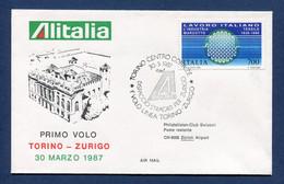 ⭐ Italie - Premier Vol - Torino - Zurigo - Alitalia - 1987 ⭐ - Vliegtuigen