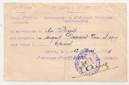 1921 PERMISSION DE NUIT / 1ER REGION PLACE D'EPINAL / HOPITAL MILITAIRE  EPINAL COLBEY C1114 - Documenten