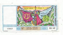 JC , Billet De Loterie Nationale,  Tranche Spéciale Du Vendredi 13, 1961, 55 NF - Lottery Tickets