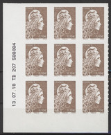N° 1596 Y.T. Autoadhésif Coin Daté 13.07.2018 Type Marianne D'YZ Neuf ** - 2010-....