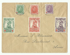 Lettre Affr. Albert Croix-ROuge Et MERODE (N°126/131) Obl. Sc ANTWERPEN 1 Vers Anvers - 16245 - 1914-1915 Croce Rossa