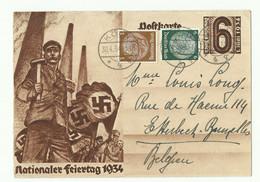E.P. Carte 6pfg(Nationaler Feiertag 1934) + Tp Hindenburg 3 Et 6pfg, Obl. Dc KÖLN Du 30-4-1934 Vers Etterbeek - 16255 - Enteros Postales