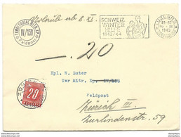 44 - 40 - Enveloppe Avec Cachet Et Timbre Militaire - Timbre Taxe 1943 - Portomarken