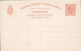 Denmark Postal Stationery Ganzsache Entier 1915/16, 10 Øre Chr. X. Svar-Brevkort Answer Response Antwort (2 Scans) - Interi Postali