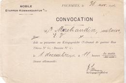 MOBILE ETAPPEN KOMMANDANTUR / CONVOCATION TRIBUNAL DE GUERRE 1916 / MARSEILLE - 1914-18
