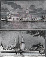 THAILANDE - Lot De 3 CPSM Argentées :  Chedi Klang Nam - Bangkok X 2 - Thaïland