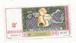 JC , Billet De Loterie Nationale,  2 E, Groupe 1 , 2 E Tranche Hebdomadaire Spéciale 1960 ,26 NF - Lottery Tickets