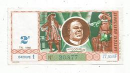 JC , Billet De Loterie Nationale,  2 E, Groupe 1 , Deuxième  Tranche  1960 , 17,50 NF, Jean COQUELIN - Lottery Tickets