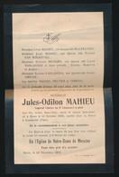 TOMBE POUR LA PATRIE A CAESKERKE - KLEINE DOODSBRIEF ( OPEN 21 X 14 CM ) JULES MAHIEU  MONS 1893 - 2 SCANS - Obituary Notices