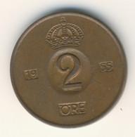SVERIGE 1955: 2 Öre, KM 821 - Zweden