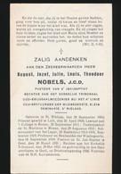 PASTOOR ST JAN BAPTIST  GENT -  AUGUST NOBELS  JCD - ST NIKLAAS 1884  GENT 1938 - Obituary Notices