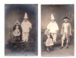Enfants Déguisés. Pierrot.Marquis.Servante.2 Cartes Photo TBE. - Groupes D'enfants & Familles
