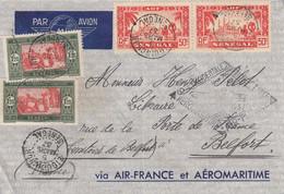 LETTRE. SENEGAL. 5 MARS 37. ZIGUINCHOR POUR BELFORT. VIA AIR-FRANCE AEROMARITIME - Sénégal (1887-1944)