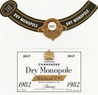 Etiquette Champagne Heidsieck & C° à Reims / Dry Monopole / BRUT / 1982 - Champagne