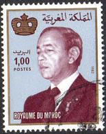 Maroc Poste Obl Yv: 936 Mi:1011 Hassan II & Couronne Gd Format (Beau Cachet Rond) - Maroc (1956-...)