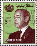 Maroc Poste Obl Yv: 940 Mi:1015 Hassan II & Couronne Gd Format (Beau Cachet Rond) - Maroc (1956-...)