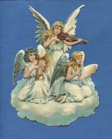 Beau Format Chromo Decoupis Ange Angelot Musicien Violon Harpe Lyre Chant Nuage Religieux  16,5 Cm - Angels