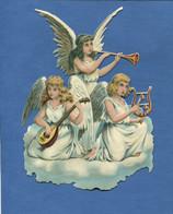 Beau Format Chromo Decoupis Ange Angelot Musicien Mandoline Trompette Harpe Lyre Chant Nuage Religieux  16,5 Cm - Angels