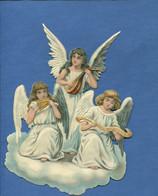 Beau Format Chromo Decoupis Ange Angelot Musicien Mandoline Flute De Pan Chant Nuage Religion  16,5 Cm - Angels