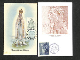 PORTUGAL - 2 Cartes Maximum 1952 Et 1954 - FATIMA - Manuel Da Nóbrega - Cartoline Maximum