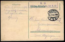 GLEIWITZ - 1915 - FELDPOSTKARTE - ERSATZBATLN. INF.R.22 - ....-1919 Übergangsregierung