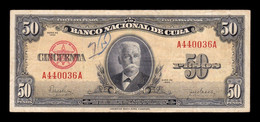 Cuba 50 Pesos Calixto García Iñiguez 1950 Pick 81a T. 036 BC F - Cuba