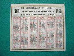 Petit Calendrier 1960 - Electricité Tripet Maniaci Bamako Mali - Kalender