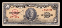 Cuba 50 Pesos Calixto García Iñiguez 1950 Pick 81a T. 030 BC F - Cuba