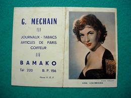 Petit Calendrier 1957 - Méchain Journaux Tabacs Coiffeur Bamako Mali AOF - Gina Lolobrigida - Kalender