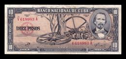Cuba 10 Pesos Carlos Manuel De Céspedes 1960 Pick 88c Sign Che MBC VF - Cuba