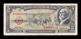 Cuba 5 Pesos Máximo Gómez 1958 Pick 91a BC/MBC F/VF - Cuba