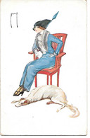 Illustrator - Signed - Art Deco - Russian Wolfhound, Borzoi, Barsoi, Lévrier, Femme, Frau, Woman, Hat, Chapeau, Hut - Otros Ilustradores