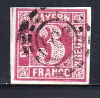 GERMANY-BAYERN, 1862 ,  Used Stamp 3 Kreuzer, Michel 8 , Scannr. 15182 - Bayern