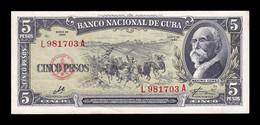 Cuba 5 Pesos Máximo Gómez 1960 Pick 91c Sign Che MBC+ VF+ - Cuba